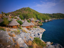 Huts at the cliff Royalty Free Stock Images