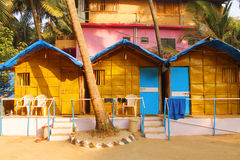 The huts on the Goa beach royalty free stock photography