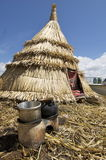 Huts in Lake Titicaca. Huts on the floating islands in Lake Titicaca Stock Images