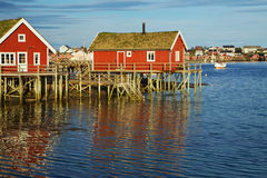 Huts on Lofoten Stock Photo