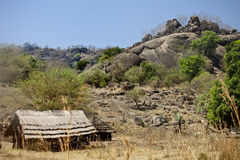 Huts in mountains of south sudan Stock Image