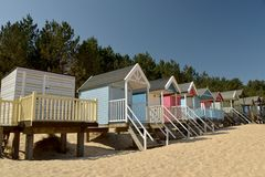 Huts On Beach At Holkham Sands, Norfolk Royalty Free Stock Images