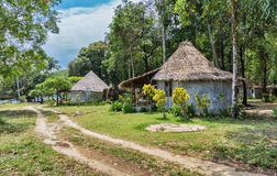 The huts in the rainforest Stock Photo