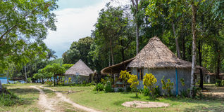 The huts in the rainforest Stock Images
