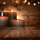 Huts romanticism with candles. Huts romance with candles and bokeh background Royalty Free Stock Photos