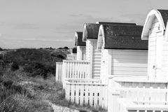 Beach hut - Black and white. Huts on the beach in sweden Stock Image