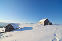 Huts in the snow Stock Image