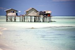 Huts on Stilts Royalty Free Stock Photos