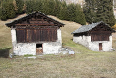 Huts in tha Alps Royalty Free Stock Photo