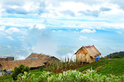 Huts on the top of the mountain Stock Photography