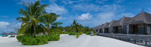 Huts on the tropical beach panorama with palm trees at Maldives stock photo