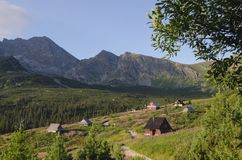 Huts in valley. Huts in in Polish Tatra mountains valley royalty free stock photos
