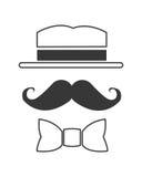 Hutschnurrbart und bowtie Ikone Lizenzfreies Stockbild