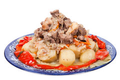 Hutspot met aardappels paprika op een plaat die op witte bac wordt geïsoleerd Royalty-vrije Stock Foto's