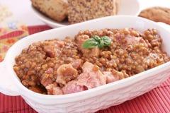 Hutspot van linzen met vlees Royalty-vrije Stock Afbeelding
