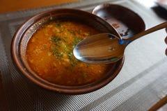 Hutsul national dish soup bograch. Carpathian mountains. Ukraine. royalty free stock image