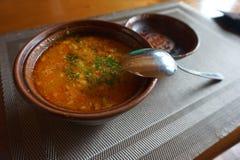 Hutsul national dish soup bograch. Carpathian mountains. Ukraine. royalty free stock photos