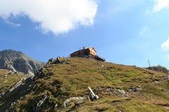 Hutte alpine Bonn Matreier Hutte, alpes de Hohe Tauern, Autriche Photo libre de droits