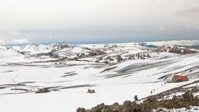Hutte de Hrafntinnusker, traînée de Landmannalaugar, Laugavegurinn, Islande Photos stock