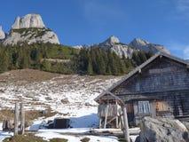 Hutte de montagne de hutte de Hofpurgl dans les alpes autrichiennes Photo stock