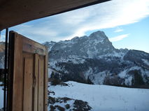 Hutte de montagne de hutte de Hofpurgl dans les alpes autrichiennes Photos stock