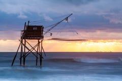 Hutte de pêche de Pecherie en mer Photo libre de droits