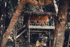 Hutte en bois de plage entre les arbres dans la jungle Photographie stock