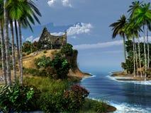 Hutte sur une île exotique Photos libres de droits
