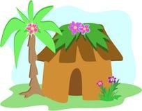 Hutte tropicale avec le palmier illustration libre de droits