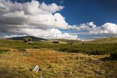 Hutten in landschap van Noorwegen royalty-vrije stock afbeelding