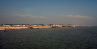 Hutten op de kust Royalty-vrije Stock Foto's