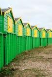 Huttes anglaises de plage Photographie stock libre de droits