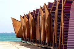 Huttes changeantes de plage Image libre de droits