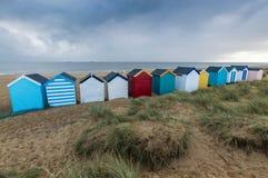 Huttes colorées de plage Photo libre de droits