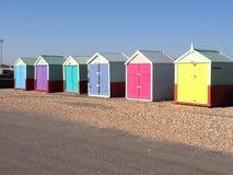 Huttes colorées de plage Images libres de droits