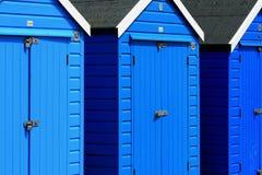 Huttes colorées de plage, plage de Bournemouth, Angleterre Photographie stock libre de droits