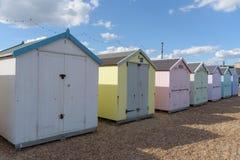 Huttes de plage chez Felixstowe Photographie stock