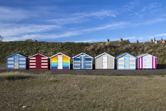 Huttes de plage chez Pakefield, Suffolk, Angleterre images libres de droits