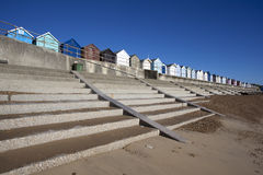 Huttes de plage, Felixstowe, Suffolk, Angleterre Photos libres de droits