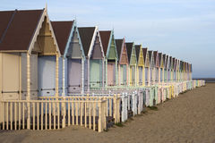 Huttes de plage, Mersea occidental Photos libres de droits