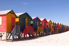 Huttes de plage, Muizenberg, Afrique du Sud Images stock
