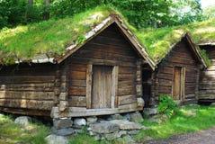 Huttes en bois antiques Photographie stock libre de droits