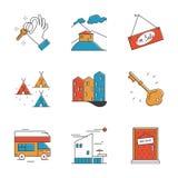 Huur de dienst en het kamperen geplaatste lijnpictogrammen Royalty-vrije Stock Afbeeldingen
