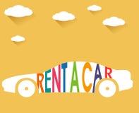 Huur een auto, snakt de vlakke kleur met wolken schaduwillustratie royalty-vrije illustratie