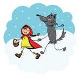 huv little röd ridningwolf Arkivbilder