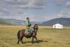 Huvsgul, Mongólia, o 6 de setembro de 2017: homem do mongolian que monta um h Fotografia de Stock Royalty Free