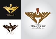 Huvud Armor Helmet Logo vektor illustrationer