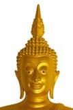 Huvud av den guld- Buddhastatyn Arkivbilder