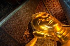 Huvud av den jätte- guld- Buddha Arkivfoto