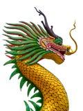 Huvud av draken på den blåa himlen i templet Thailand Royaltyfri Bild